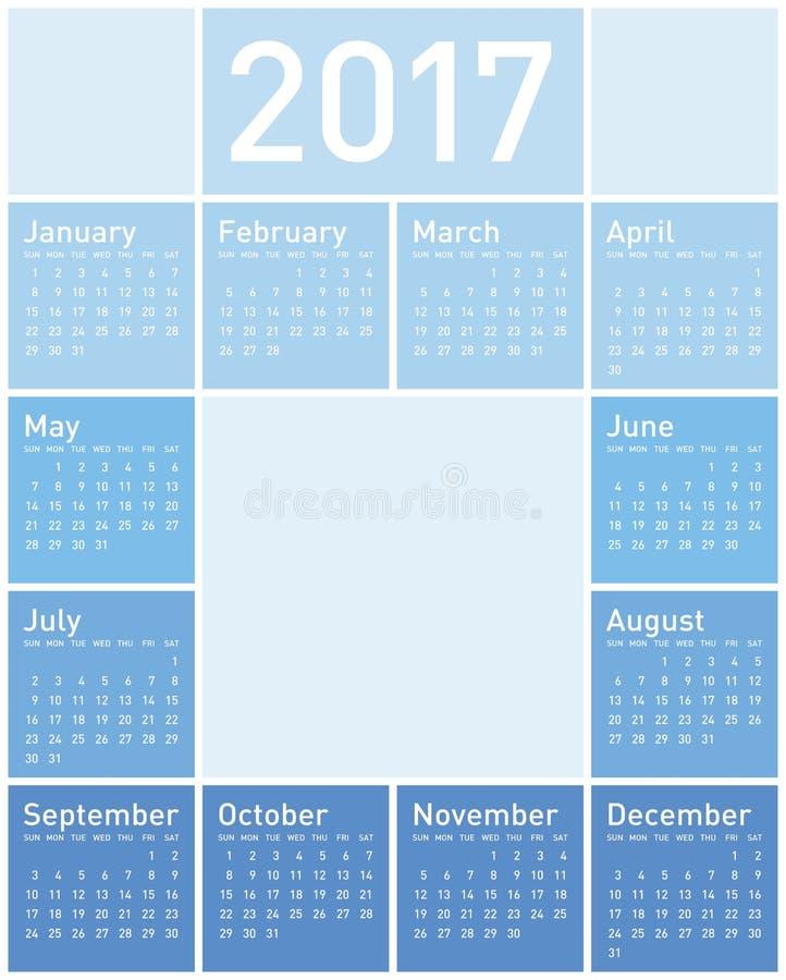 Blauer Kalender für Jahr 2017 lizenzfreie abbildung