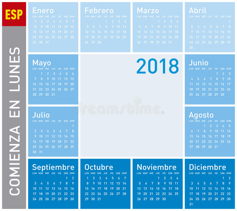 Blauer Kalender für Jahr 2011, Woche beginnt am Montag vektor abbildung