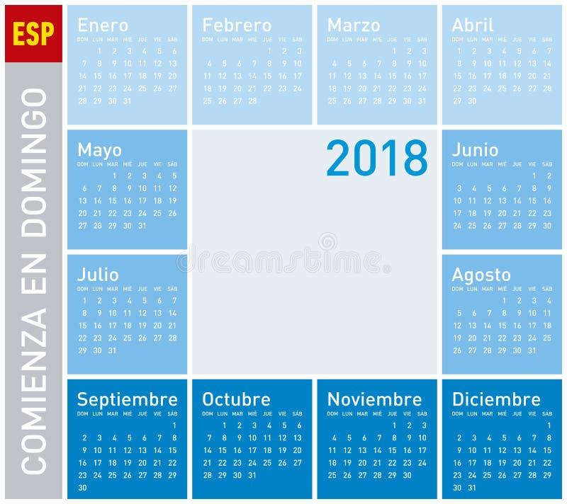 Blauer Kalender für Jahr 2018, Woche beginnt am Sonntag vektor abbildung