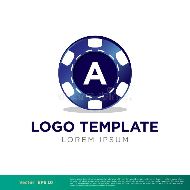 Blauer Kasino-Chips Icon Vector Logo Template-Illustrations-Entwurf Vektor ENV 10 lizenzfreie abbildung
