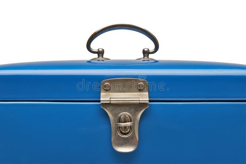 Blauer Kasten der alten und schweren Weinlese Metall stockfoto