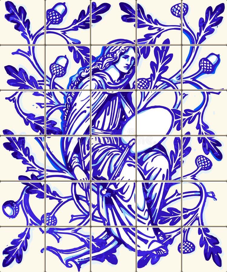Blauer Keramikziegel-Magnet-Andenken-Vektor Eichen-Fee Azulejo vektor abbildung