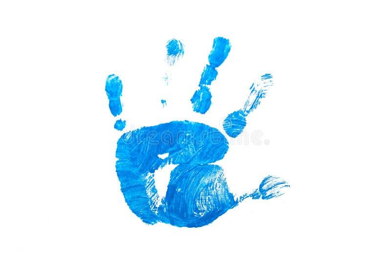 Blauer Kinderhanddruck auf Weiß lokalisiert lizenzfreie stockfotos