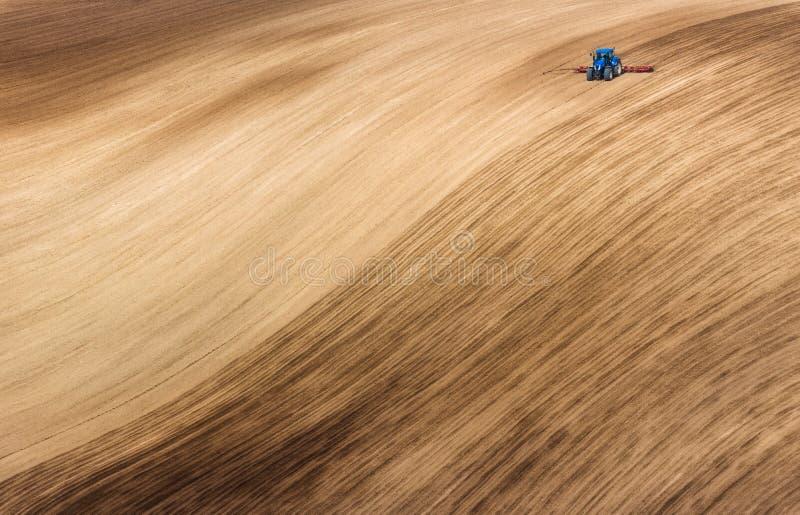 Blauer kleiner Traktor, der gewelltes Feld Browns pflügt Szenische Ansicht des Landwirtschafts-Traktors, die, Frühling pflügend,  stockfotografie