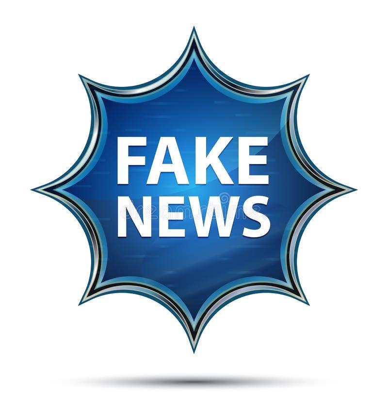 Blauer Knopf des gefälschten Sonnendurchbruchs der Nachrichten magischen glasigen stock abbildung