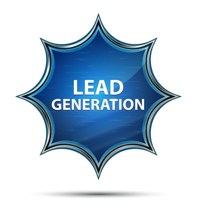 Blauer Knopf des magischen glasigen Sonnendurchbruchs der Führungs-Generation lizenzfreie abbildung