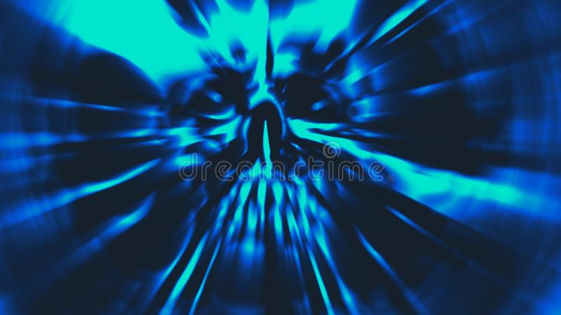Blauer Kopf des Dämons mit einem heftigen Gesicht Illustration im Genre des Horrors vektor abbildung