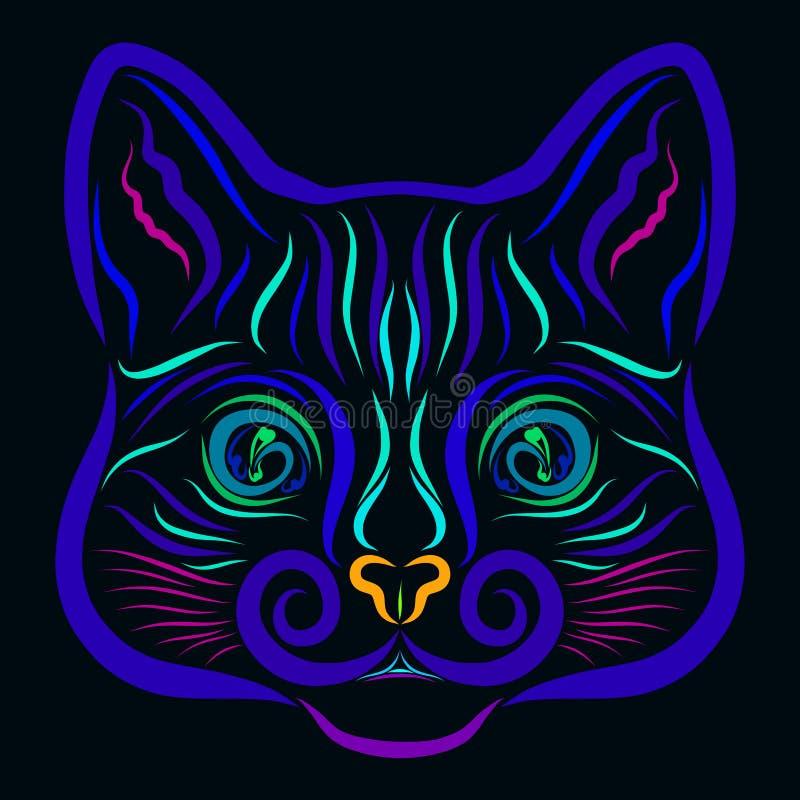 Blauer Kopf einer magischen Katze auf einem schwarzen Hintergrund, Muster stock abbildung