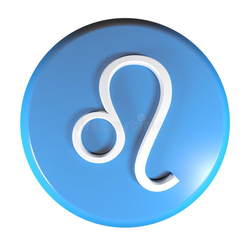Blauer Kreisdruckknopf TIERKREIS-LÖWE-IKONE - Illustration der Wiedergabe 3D lizenzfreie abbildung