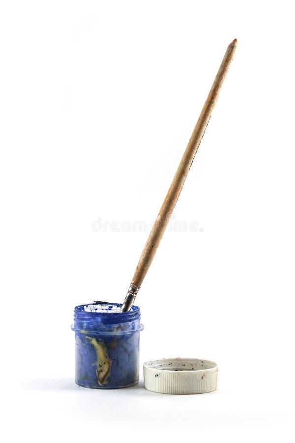 Blauer Lack und Pinsel stockfoto
