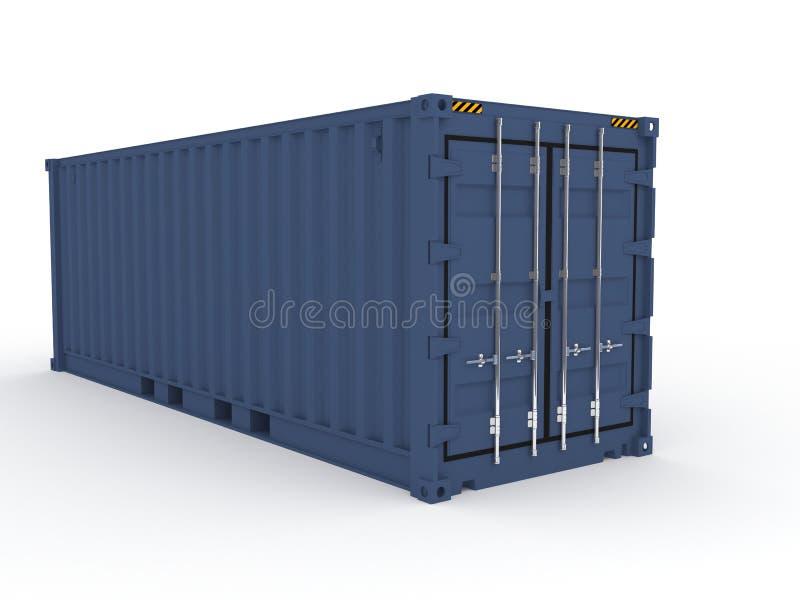 Blauer Ladungseebehälter lizenzfreie abbildung