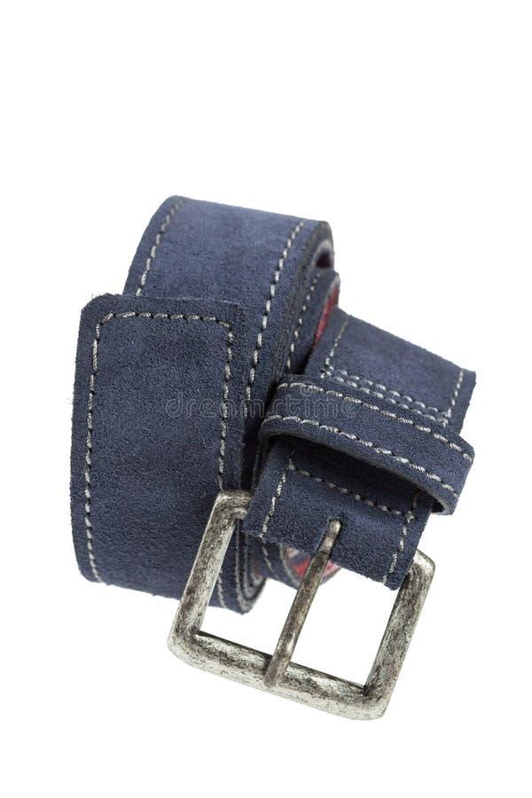 Blauer Ledergürtel lizenzfreie stockfotos