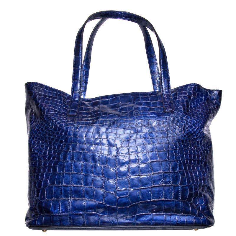 Blauer lederner weiblicher Luxuxbeutel getrennt auf Weiß lizenzfreies stockfoto