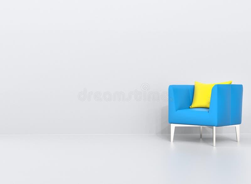 Blauer Lehnsessel mit gelbem Kissen lizenzfreie abbildung