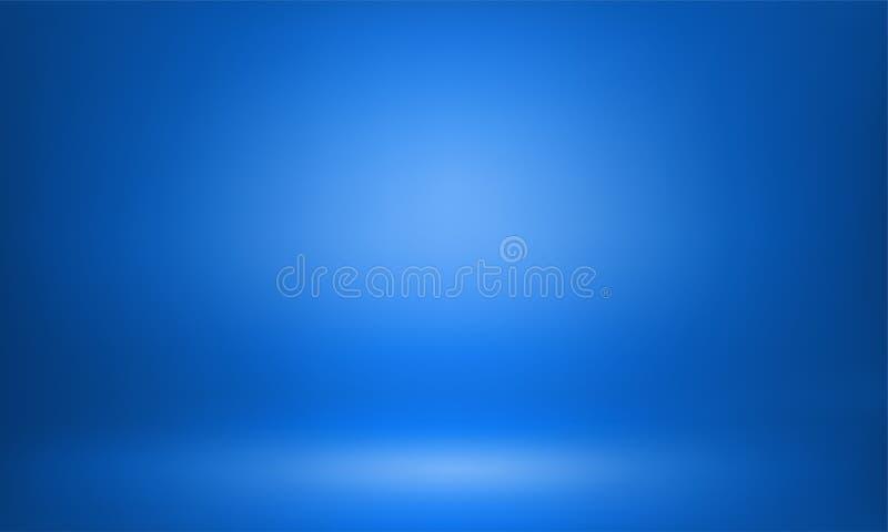 Blauer Lichthintergrund lightbox Raum des Studios 3D stock abbildung