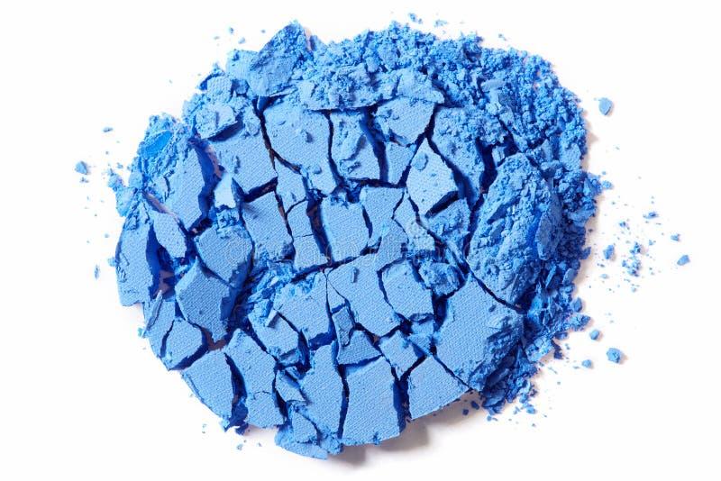 Blauer Lidschatten zerquetscht auf Weiß stockfotos