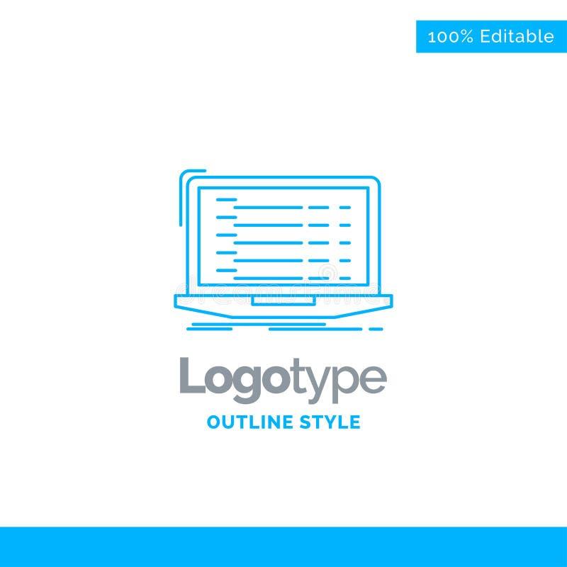 Blauer Logoentwurf für API, App, Kodierung, Entwickler, Laptop Busine stock abbildung