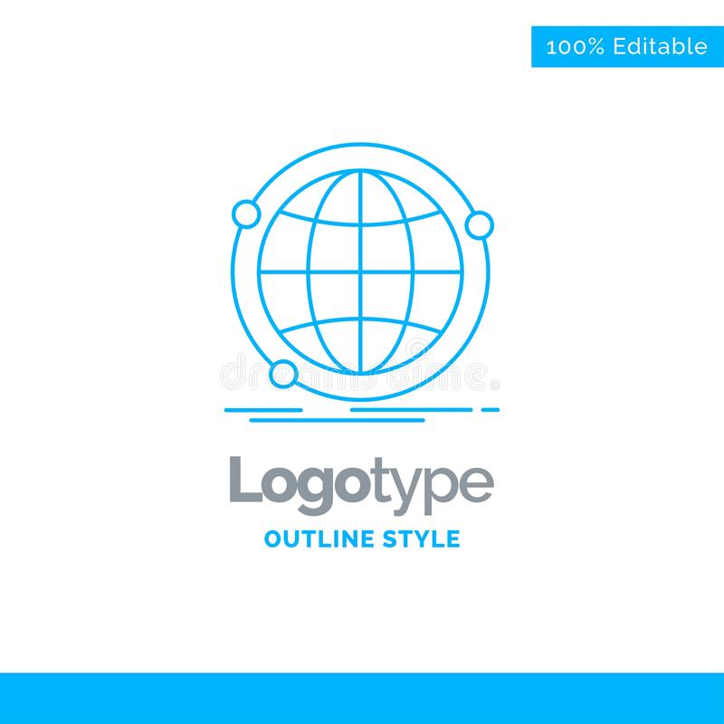 Blauer Logoentwurf für Daten, global, Internet, Netz, Netz Busin stock abbildung