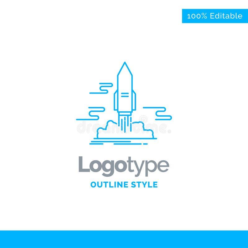 Blauer Logoentwurf für Produkteinführung, veröffentlichen, App, Shuttle, Raum Busin lizenzfreie abbildung