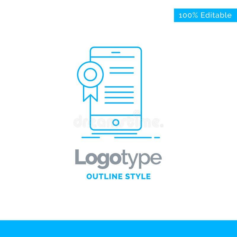 Blauer Logoentwurf für Zertifikat, Bescheinigung, App, applicatio vektor abbildung