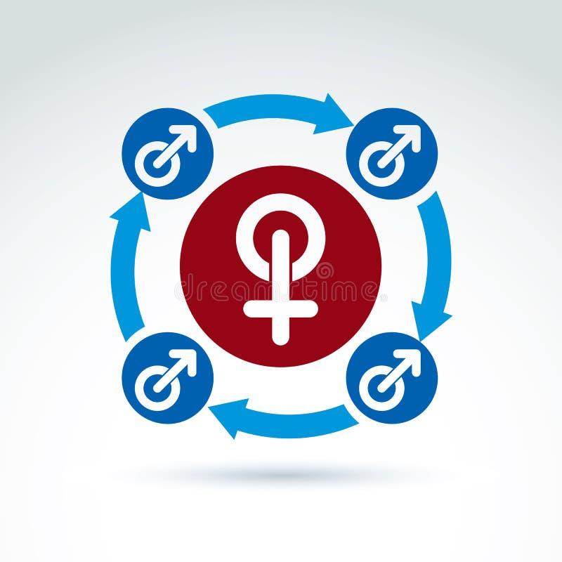Blauer Mann und rote weibliche Zeichen, Geschlechtssymbole lizenzfreie abbildung
