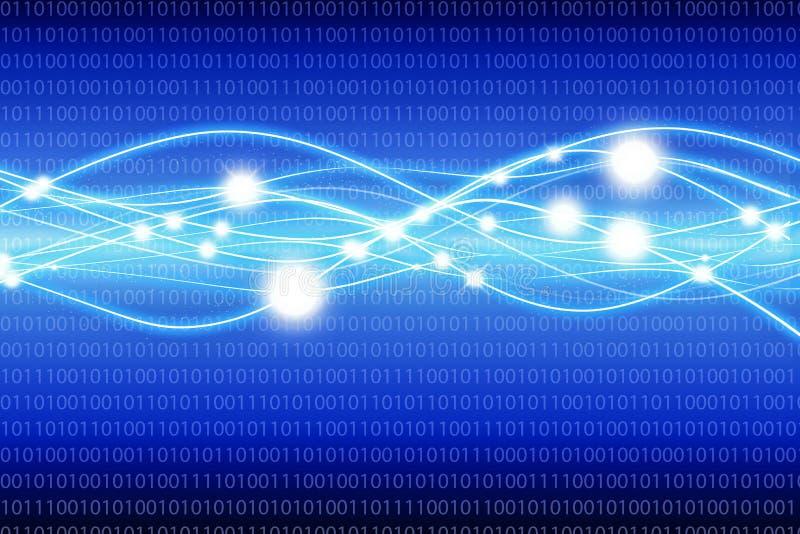 Blauer Matrixhintergrund mit Lichtwellen lizenzfreie abbildung