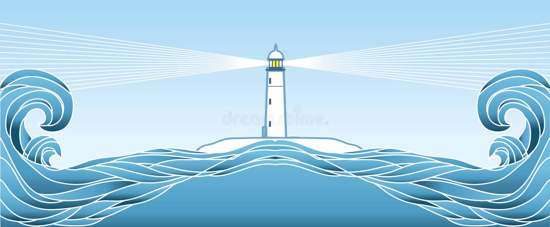 Blauer Meerblickhorizont. Vektorabbildung vektor abbildung