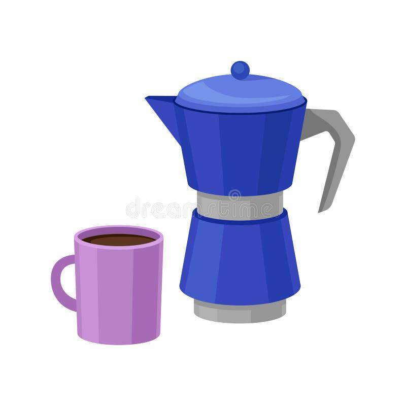 Blauer Metall-moka Topf und purpurrote Schale frischer Kaffee Köstliches Morgengetränk Geschmackvolles heißes Getränk Flaches Vek lizenzfreie abbildung