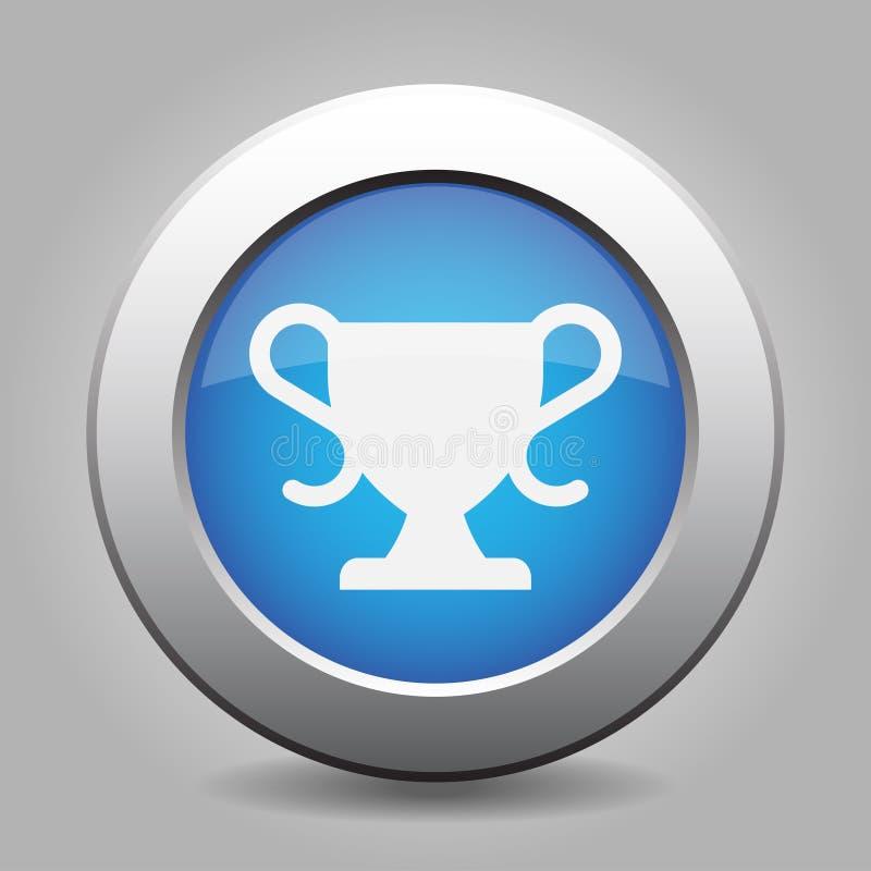 Blauer metallischer Knopf, weißer Sport höhlen Ikone lizenzfreie abbildung
