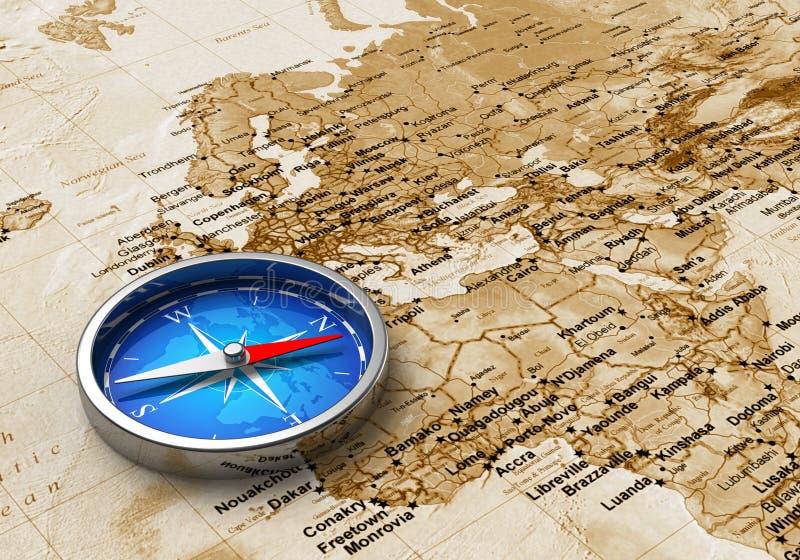 Blauer Metallkompaß auf der Weltkarte vektor abbildung