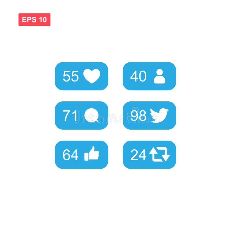 Blauer Mitteilungsikonensatz für die Gezwitschermedien sozial vektor abbildung