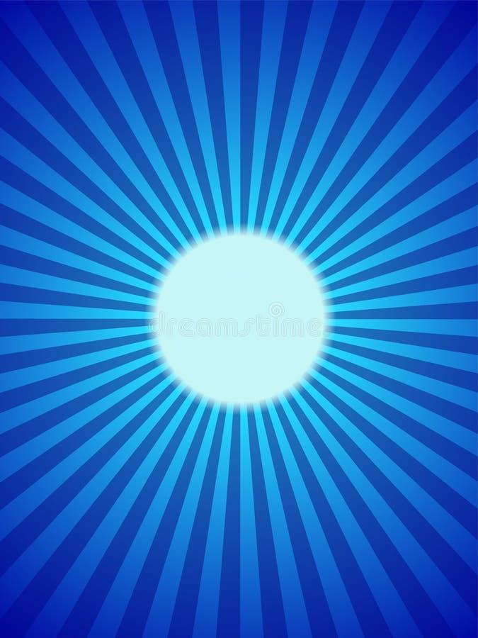 Blauer Mond backround, voll, Strahlen vektor abbildung