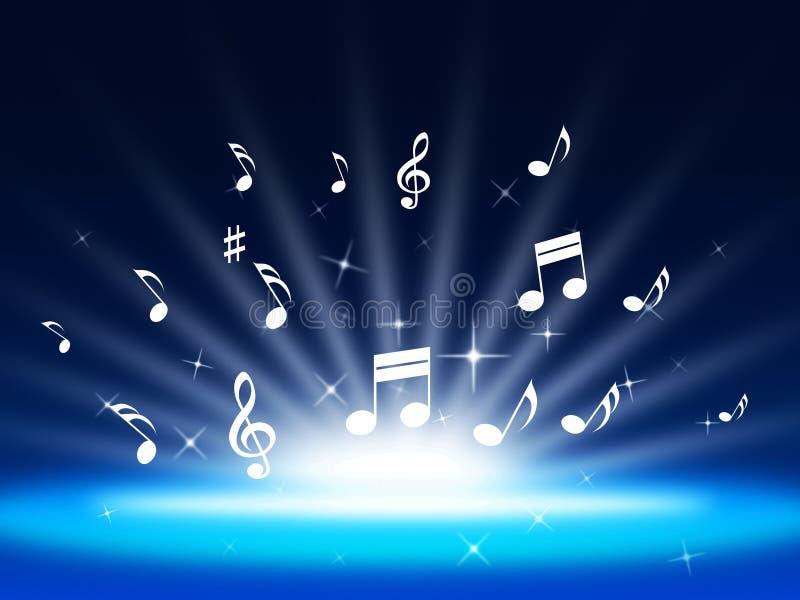 Blauer Musik-Hintergrund bedeutet Instrumente und Soundwaves lizenzfreie abbildung