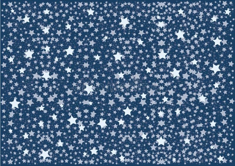 Blauer n?chtlicher Himmel mit Muster wei?en Sternen und Punkten Auch im corel abgehobenen Betrag vektor abbildung