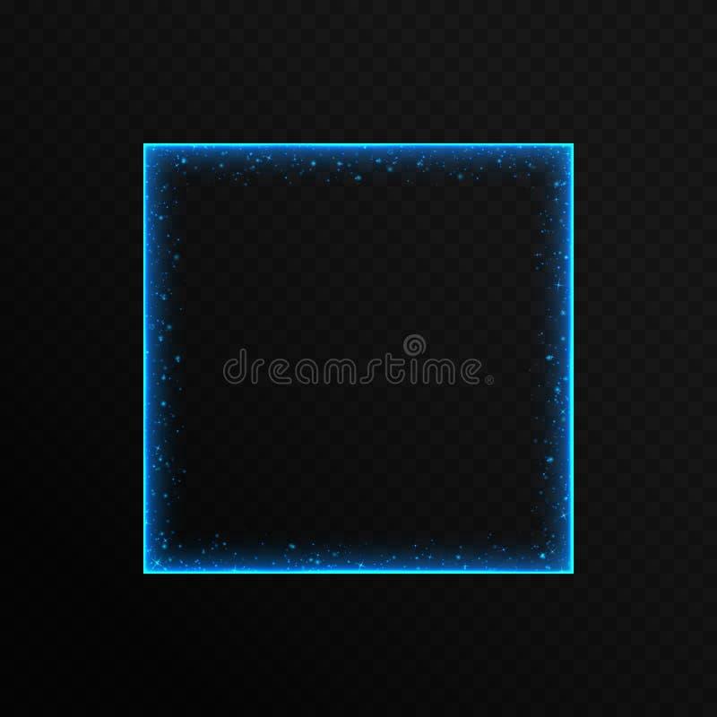 Blauer Neonrahmen mit Scheinen stock abbildung