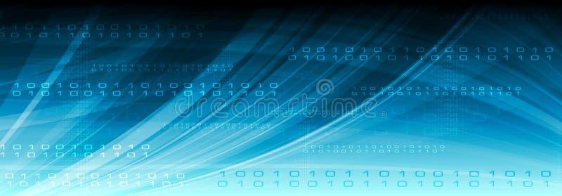 Blauer Netzvektortechnologie-binär Code-Titel lizenzfreie abbildung