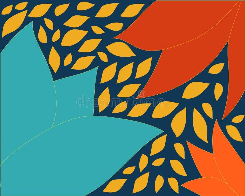 Blauer orange Hintergrund mit Blattvektorillustrations-Formvektor vektor abbildung