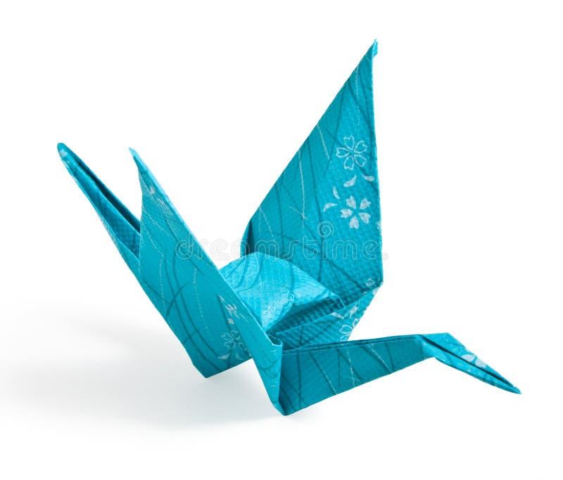 Blauer Origami Kran lizenzfreies stockbild