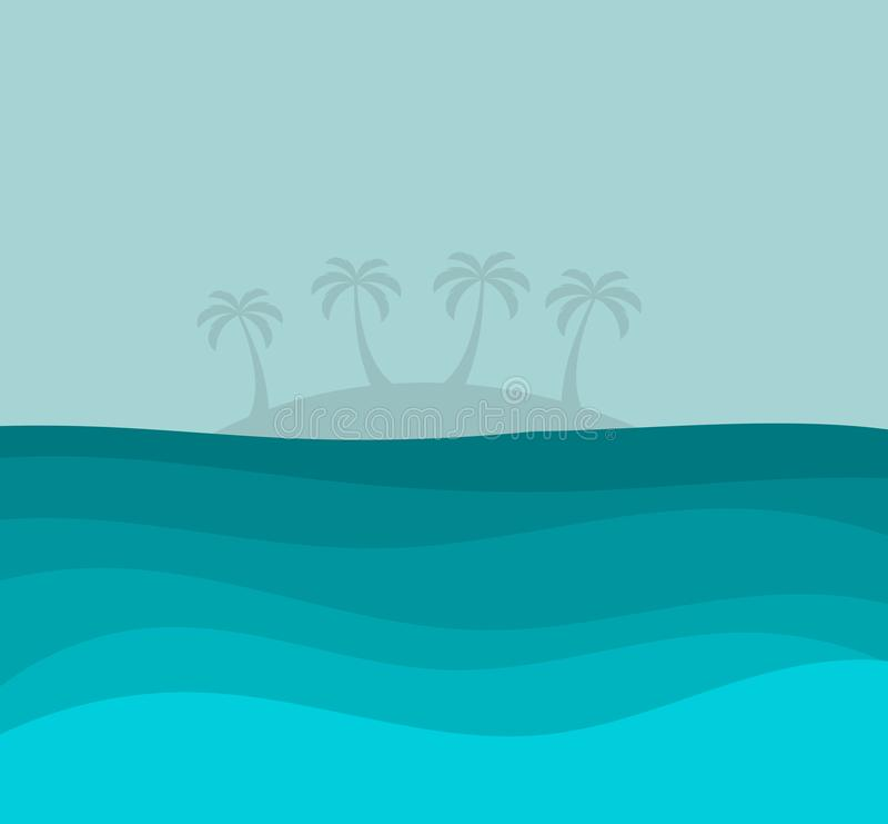 Blauer Ozean und die Insel mit Palmen stock abbildung