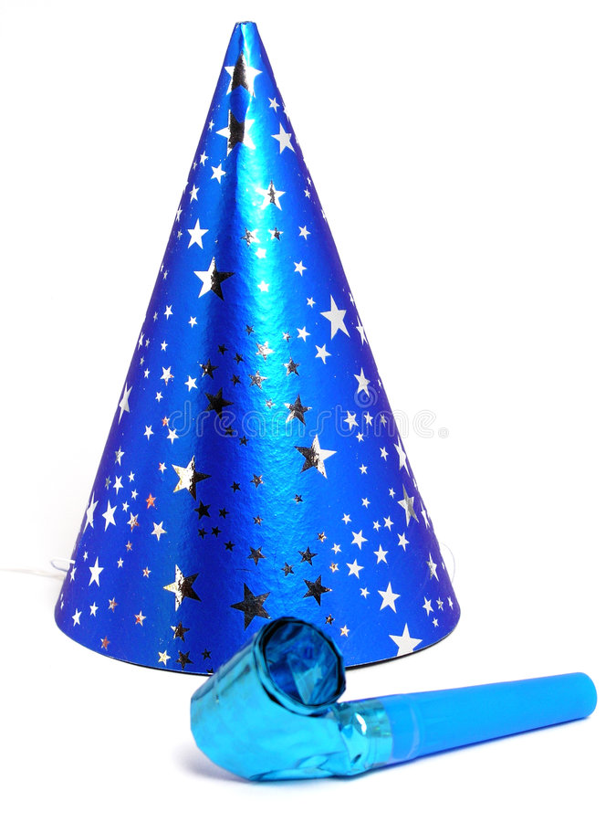 Blauer Party-Hut und Krachmacher stockfotografie