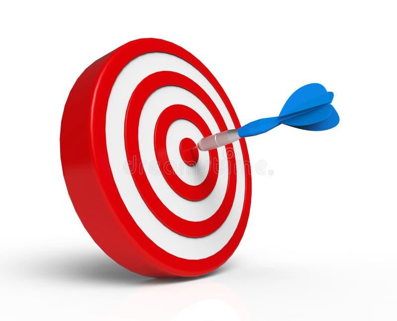 Blauer Pfeil auf rotem Ziel stock abbildung