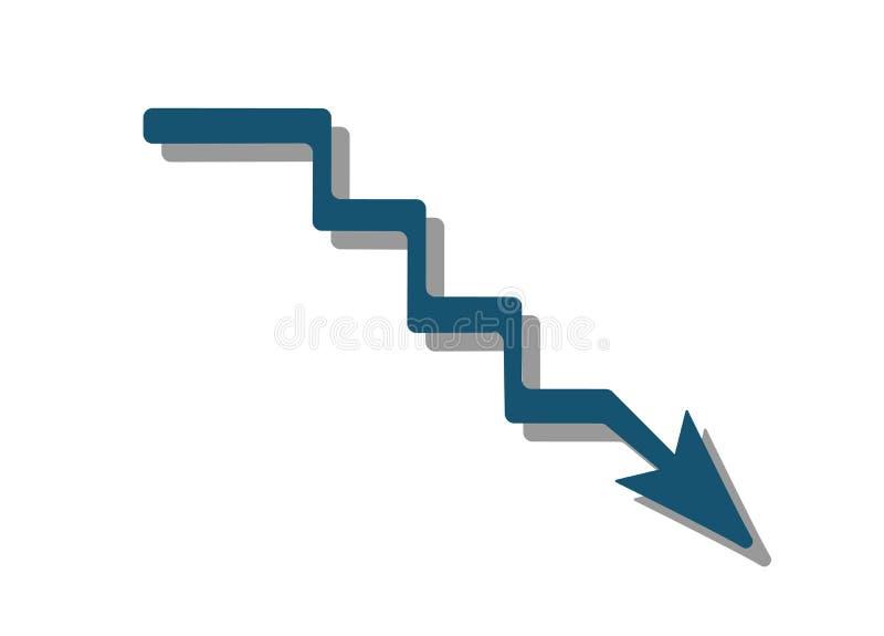 Blauer Pfeil, der Krise zeigt abwärts, zeigend Auch im corel abgehobenen Betrag vektor abbildung