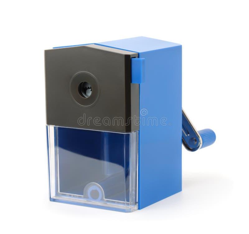 Blauer Plastikbleistiftspitzer lizenzfreie stockfotos