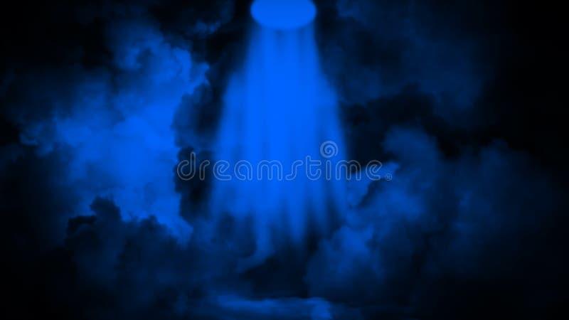 Blauer Projektor Scheinwerferstadium mit Rauche auf schwarzem Hintergrund Vektorbild, Abbildung stockfoto