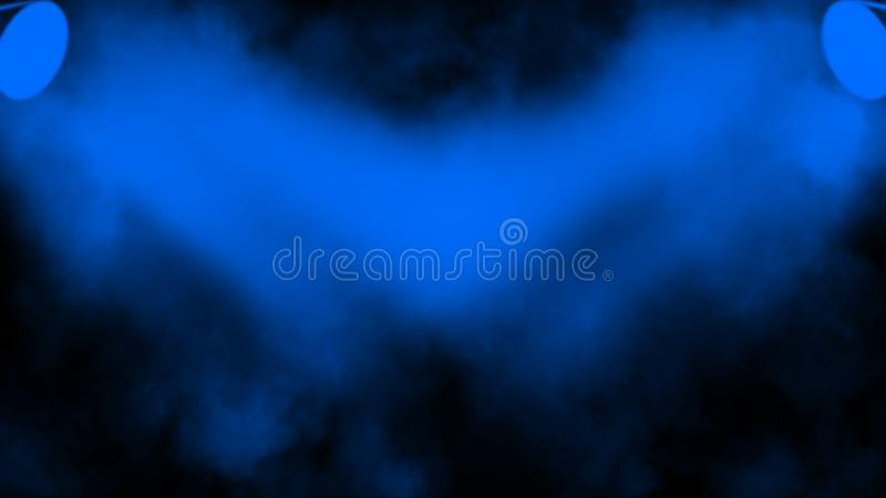 Blauer Projektor Scheinwerferstadium mit Rauche auf schwarzem Hintergrund Vektorbild, Abbildung stockfotografie