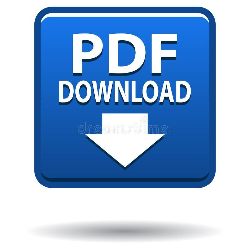 Blauer quadratischer Knopf der pdf-Netzikone stock abbildung
