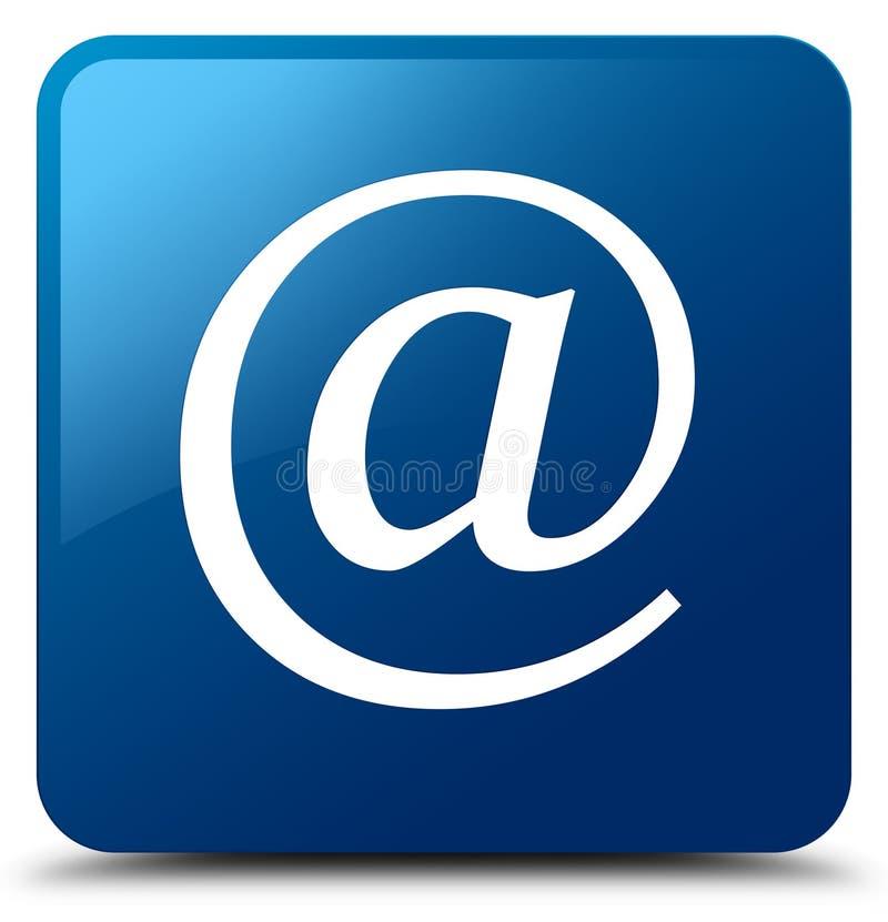 Blauer quadratischer Knopf E-Mail-Adresse Ikone vektor abbildung