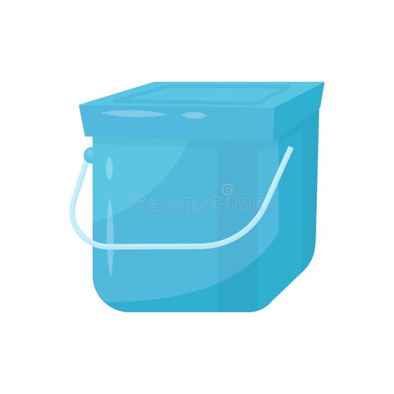 Blauer quadratischer Plastikeimer mit Deckel- und Metallgriff Behälter für Flüssigkeiten oder Abfall Flaches Vektorelement für Pr lizenzfreie abbildung