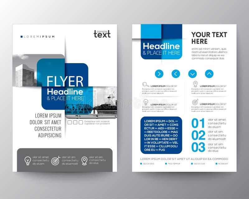 Blauer querer grafischer Element Broschürenabdeckung Flieger-PlakatEntwurf stock abbildung
