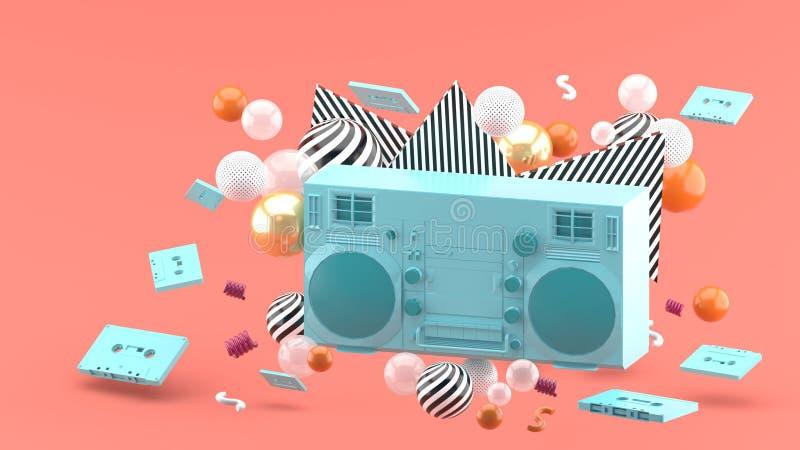 Blauer Radio unter bunten Bällen auf einem rosa Hintergrund lizenzfreie abbildung